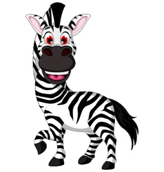 funny zebra cartoon smiling vector image vector image