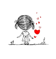 Girl with red heart valentine card sketch for your vector image vector image