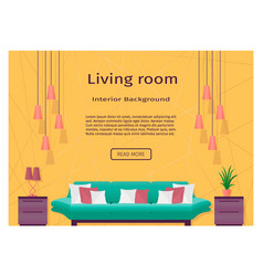 Graceful bright living room interior banner for vector