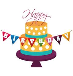 Happy birthday cake decorative dots garland vector
