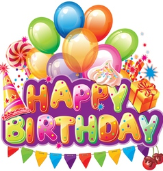 Happy birthday text with party elements vector image vector image