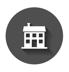 house icon in flat style with long shadow vector image