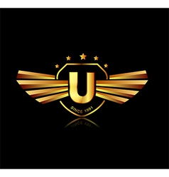 Letter u winged crests logo alphabet logotype vector