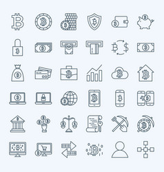 line bitcoin icons vector image