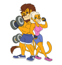 lion and lioness posing vector image
