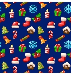 Merry Christmas seamless pattern set icons on vector image