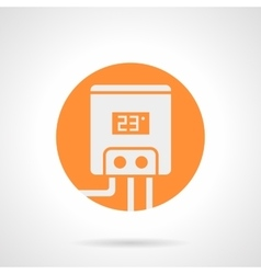 Orange round icon for electric water boiler vector