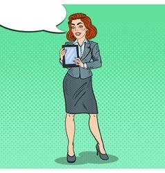 Pop Art Business Woman Holding Digital Tablet vector image