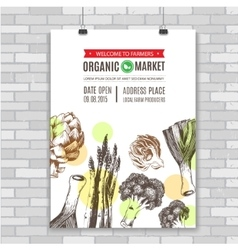 poster invitation for organic food market vector image vector image