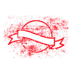 Red circle grunge rubber stamp and ribbon vector