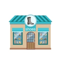 Shoe shop commercial building facade design vector