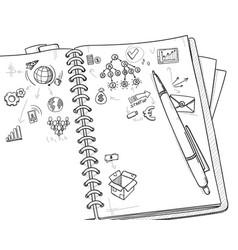sketch monochrome business concept vector image