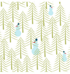 snowman and christmas tree seamless pattern vector image vector image