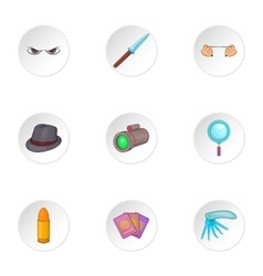 Spying icons set cartoon style vector