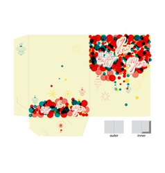 Template for folder with inscription happy new yea vector