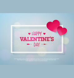valentines day design with red heart on shiny vector image