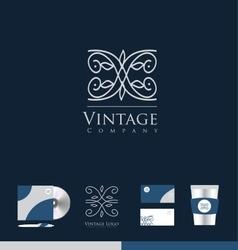 Vintage lineart monogram logo icon design vector