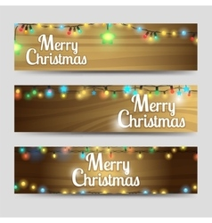 Wood with garlands Merry Christmas banners vector image