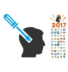 Head screwdriver tuning icon with 2017 year bonus vector