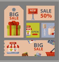 Supermarket grocery shopping retro cartoon cards vector