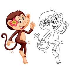 animal outline for female monkey vector image