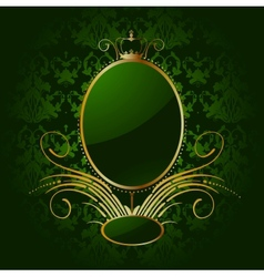 Royal green background with golden frame vector