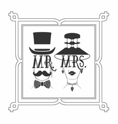 Black silhouette elegant mr male and mrs female vector