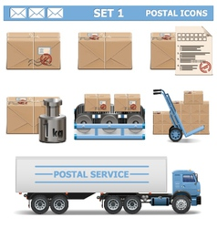 Postal icons set 1 vector
