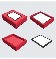 Isometric computer tablet with box vector