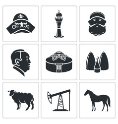 Kazakhstan icons set vector