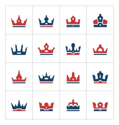 Set color icons of crown vector