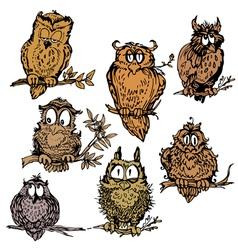 owl set 380 vector image