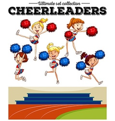 Cheerleaders cheering in the field vector