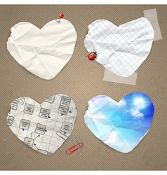Set of paper in the shape of heart vector