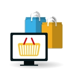 Shopping and computer design vector