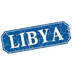 Libya blue square grunge retro style sign vector