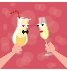 Two glass character cartoon cheers fall in love vector