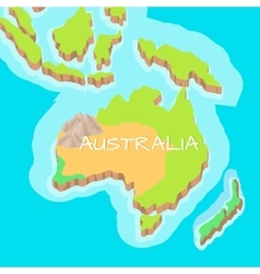 Australia mainland cartoon relief map vector