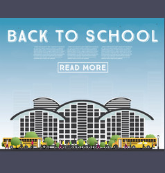Back to school banner with school bus building vector