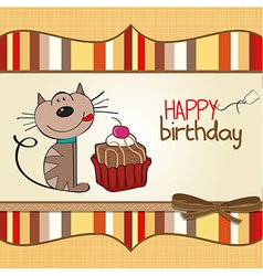 Birthday greeting card with a cat waiting to eat a vector