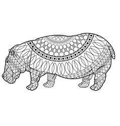 Black and white hippo design vector