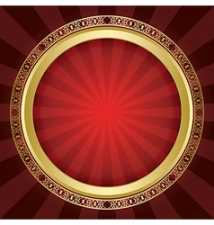 Bright red background with gold ornamental frame vector