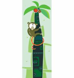Brown monkey on palm tree vector