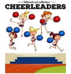 Cheerleaders cheering in the field vector