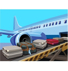 civilian aircraft and baggage vector image