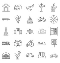 Coddle icons set outline style vector