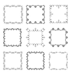 Collection of hand drawn ornamental square frames vector image vector image