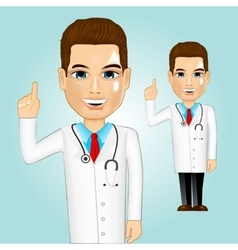 Confident doctor pointing up vector