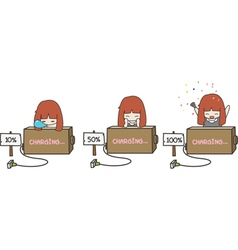 cute battery charging vector image vector image