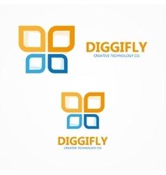 Digital butterfly logo vector image